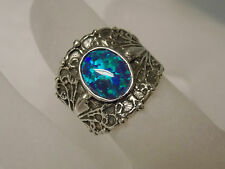 1ct blue green opal wide band antique 925 sterling silver ring size 6.5