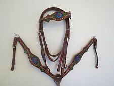 NEW LEATHER WESTERN HEADSTALL BRIDLE BREAST COLLAR TACK SET SUNFLWR