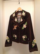 Anthropologie Joystick Johnny Was Corduroy Embroidered Flower Jacket Small