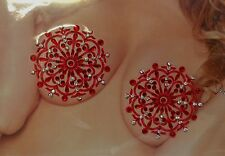 Nipple Cover Pasties Ornamental Red Stone bling jewel Sexy Fetish Cosplay