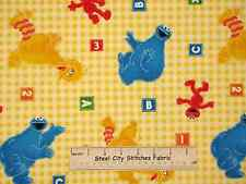 Sesame Street Baby Nursery Kids Elmo Cookie Big Bird Yellow Cotton Fabric YARD