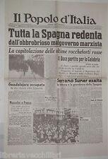 30 marzo 1939 Ristampa Fine Guerra di Spagna Guadalajara occupata Molotov di e