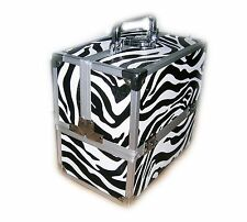 Locking Cosmetic Beauty Vanity Case Make up Box Nail Art Salon  Zebra Pattern