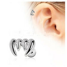"Stainless Steel Vampire Fangs Cartilage Earring Tragus Helix Lobe 16g 1/4"" bar"