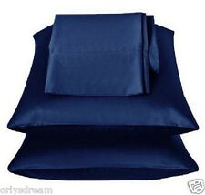 """KING - TWO SOFT """"SILKY"""" SATIN / SATEEN PILLOW CASE / COVER - NAVY BLUE (1 PAIR)"""