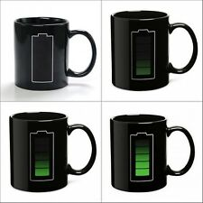 Temperature Sensor Ceramic Battery Meter Coffee Tea Mug Magic Color Changing Cup