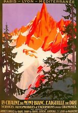 Travel Art Poster 1924 Chamonix Mont Blanc Car Tours