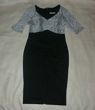 George Black with White Animal Print Top Dress Size 10