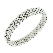 Stainless Steel White Gold Silver-Tone Mesh Narrow Stretch Bangle Bracelet