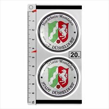 DUSSELDORF set of 2 German Number Plate Seal Stadt 3D Domed Sticker badge