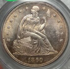 1860-O Seated Liberty Dollar, Original Uncirculated Pcgs Ms-62, Old Holder