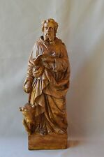 French Religious Saint Luc Evangelist Statue Wall Sculpture Terracotta 18th.c