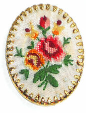 #1488B Vintage Hobe Cabochon Jewelry Roses Flowers Embroidery Silk Gold Plate
