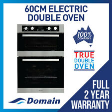 NEW 60cm 8  + 4 FUNCTION DOUBLE ELECTRIC FAN FORCED WALL OVEN DESIGNER LOOK