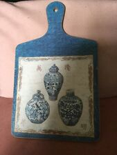 Unusual Deorative Vintage Cheese Board With Images Of Chinese Blue & White Vases