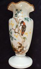 Superbe grand vase ancien en OPALINE décor peint main (Oiseau-Pic épeiche..)