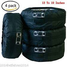 "Car Spare Tire Storage Protection Bag 13""-19"" Wheel Tyre Carry Tote Cover 4 Pcs"