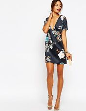 Missguided Floral V Neck Shift Dress UK 8