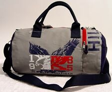 New Tommy Hilfiger Gray & Blue Eagle Small Duffle Bag - Navy / Grey