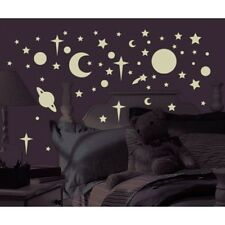 258 New Glow in the Dark STARS SUNS PLANETS WALL DECALS Kids Celestial Stickers