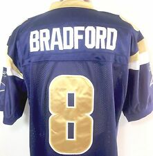 Sam Bradford Jersey 52 Mens St Louis Rams Blue Reebok OnField NFL Equipment SEWN