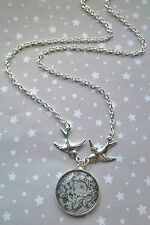 Vintage Style Silver Swallow Bird and Lace Image Pendant Necklace Boho