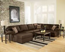 MAINZ - Large Modern Chocolate Microfiber Living Room Sofa Couch Sectional Set