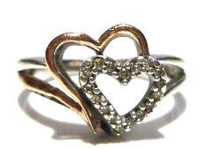 """DESIGNER """"SUN"""" STERLING SILVER 10K GOLD & DIAMOND WOMENS HEART RING SIZE 7"""