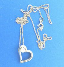 Sterling Silver Pearl Heart Pendant Necklace Signed BY