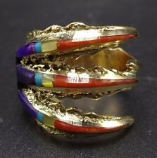 Vintage Native American MICHAEL LITTLE ELK Channel Inlay 14K GOLD RING size 9.5