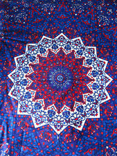 INDIAN COTTON BEDSPREAD TAPESTRY Purple STAR Ethnic Blanket MANDALA THROW DOUBLE
