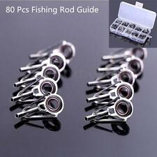 80pcs 10 Sizes Lure Fishing Rod Guide Tip Top Repair Part Fish Pole Eye Ring