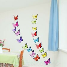 19 COLOURFUL 3D KIT BUTTERFLIES WALL ART DECAL STICKERS HOME DECORATION DECOR