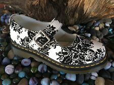 Dr. Doc Martens White /Black floral velvet leather Mary Janes buckle shoes 7