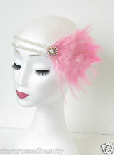 Pink & White Pearl Feather Flapper Headpiece 1920s Headband Great Gatsby 30s O38