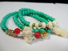 Tibetan Buddhist Chinese Blue Glass Mala Bracelet/Necklace Prayer Elephant Bead
