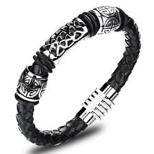 Men's Vintage Stainless Steel Genuine Leather Braided Bracelet Bangle Wristband