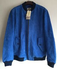 LEVIS MADE AND CRAFTED SUEDE BOMBER JACKET IMPERIAL BLUE SIZE S RRP £650