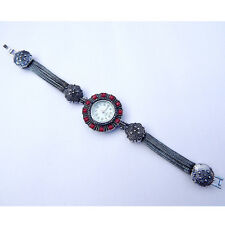 Turkish Victorian Ruby Stone 925 Sterling Silver Bracelet Watch