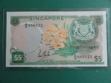 $5 Orchid Singapore Dollar Note A/9 888823 LKS w/o Seal