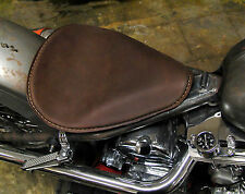 HI-BACK BROWN THIN SMOOTH SOLO SEAT LARGE GENUINE LEATHER HARLEY BOBBER CHOPPER