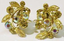 boucles d'oreilles clips LISNER bijou vintage couleur or cristal boréalis 27