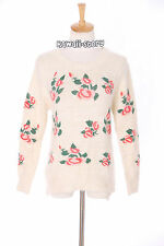 TH-13 Gr. XS-S Pullover Sweater weiß white flowers Blumen Japan Trend Fashion