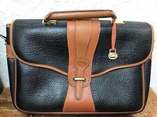 Vintage Dooney & Bourke Briefcase Laptop Bag Black W Tan All Weather Leather GUC