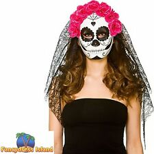 DELUXE DAY OF THE DEAD FULL FACE MASK + VEIL Womens Ladies Fancy Dress Accessory