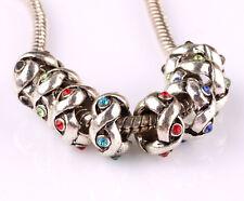 10pcs mix LAMPWORK CZ big hole spacer beads fit Charm European Bracelet AR577