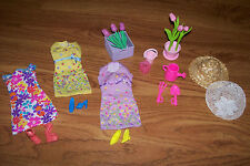 Barbie Vintage dresses, shoes & Garden items with flowers and hats