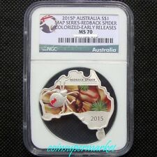2015 Australia Map Shaped Series Redback Spider 1oz Silver Coin NGC MS 70 Early!