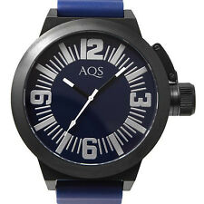 AQS BY AQUASWISS MENS SWISS BLACK IP SS QUARTZ WATCH NEW BLUE RUBBER 95M017