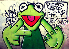 street sesame  graffiti green kermit frog print quality A1 SIZE ART on canvas